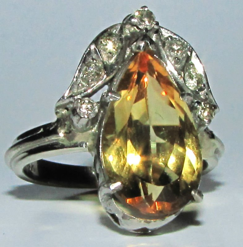 Antique 3.15CT NATURAL CITRINE DIAMOND RING 14KT