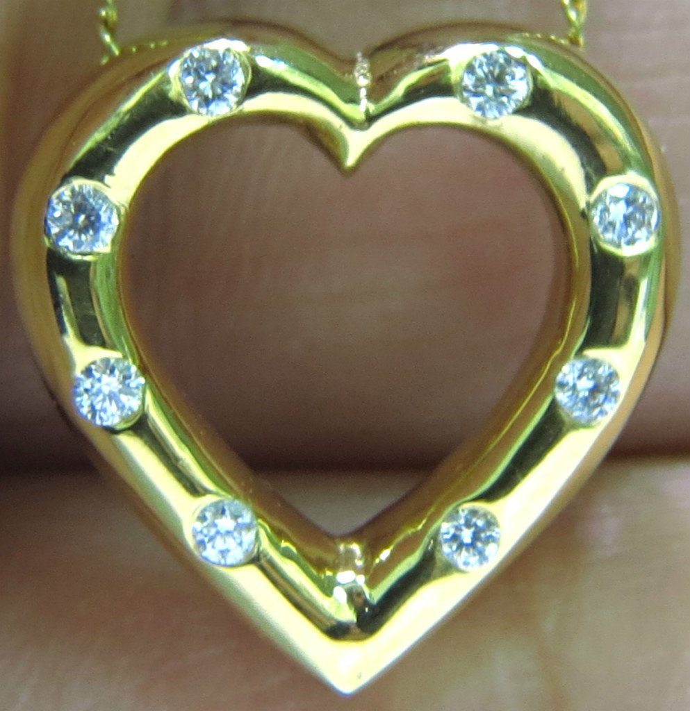 .36CT DIAMONDS HEART PENDANT 14KT & CHAIN