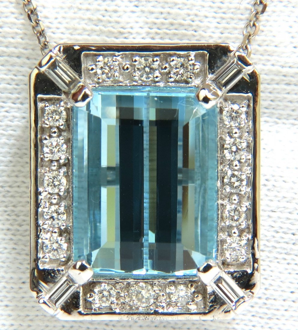 GIA 17.39CT NATURAL GEM AQUAMARINE DIAMOND PENDANT