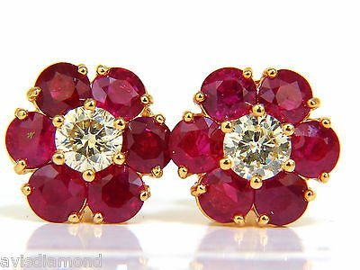 6.48CT NATURAL FINE GEM RUBY DIAMOND CLUSTER EARRINGS