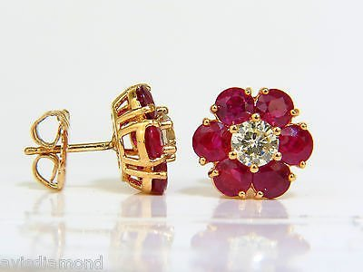 6.48CT NATURAL FINE GEM RUBY DIAMOND CLUSTER EARRINGS - 2