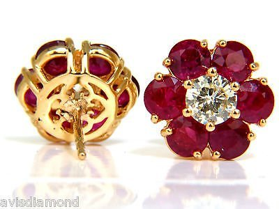 6.48CT NATURAL FINE GEM RUBY DIAMOND CLUSTER EARRINGS - 3