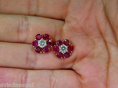 6.48CT NATURAL FINE GEM RUBY DIAMOND CLUSTER EARRINGS - 4