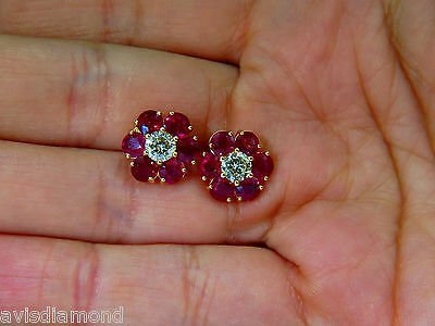 6.48CT NATURAL FINE GEM RUBY DIAMOND CLUSTER EARRINGS - 5