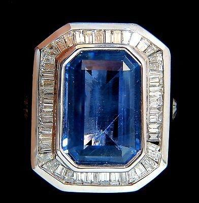 GIA 17.33CT NATURAL NO HEAT SAPPHIRE DIAMONDS MENS RING - 3