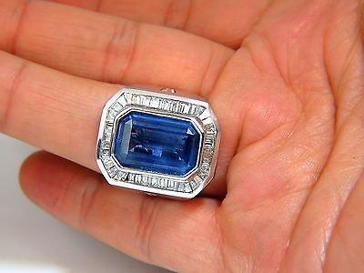 GIA 17.33CT NATURAL NO HEAT SAPPHIRE DIAMONDS MENS RING - 4