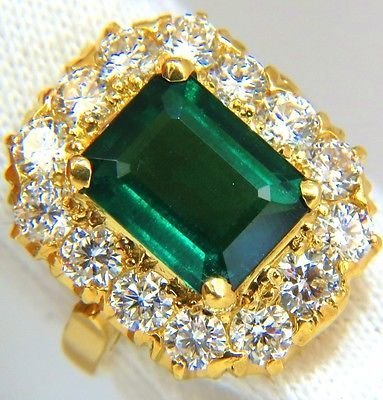 GIA 5.93CT NATURAL EMERALD DIAMONDS CLUSTER RING 18KT