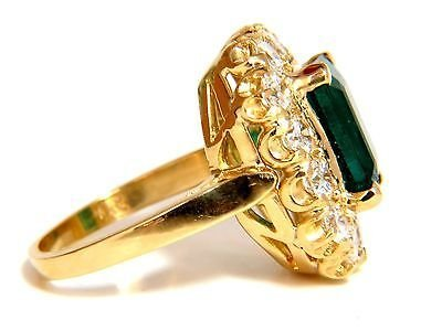 GIA 5.93CT NATURAL EMERALD DIAMONDS CLUSTER RING 18KT - 2