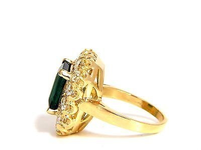 GIA 5.93CT NATURAL EMERALD DIAMONDS CLUSTER RING 18KT - 3