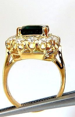 GIA 5.93CT NATURAL EMERALD DIAMONDS CLUSTER RING 18KT - 4