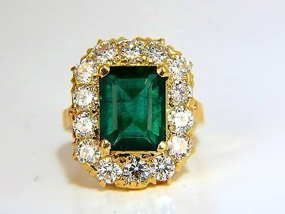 GIA 5.93CT NATURAL EMERALD DIAMONDS CLUSTER RING 18KT - 6