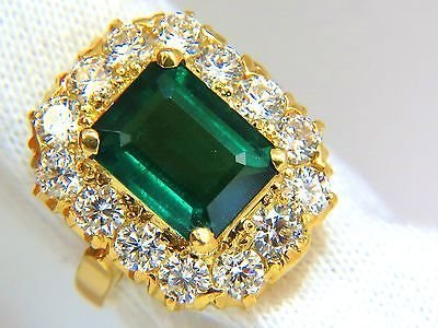 GIA 5.93CT NATURAL EMERALD DIAMONDS CLUSTER RING 18KT - 7