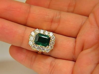 GIA 5.93CT NATURAL EMERALD DIAMONDS CLUSTER RING 18KT - 8