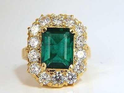 GIA 5.93CT NATURAL EMERALD DIAMONDS CLUSTER RING 18KT - 9