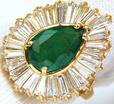 5.35CT NATURAL EMERALD DIAMOND RING BALLERINA COCKTAIL