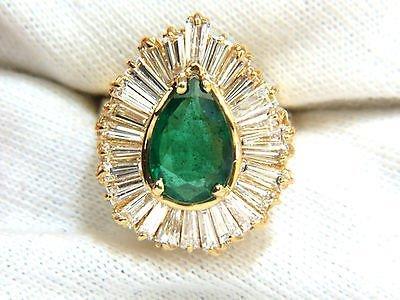 5.35CT NATURAL EMERALD DIAMOND RING BALLERINA COCKTAIL - 5