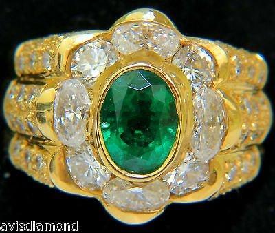 18KT 4.00CT NATURAL EMERALD DIAMOND RING CUSTOM DETAIL