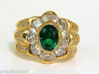 18KT 4.00CT NATURAL EMERALD DIAMOND RING CUSTOM DETAIL - 2