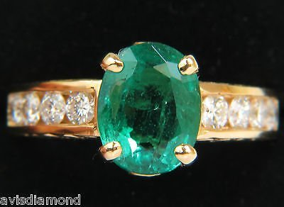 3.58CT. NATURAL ZAMBIA AAA GREEN EMERALD DIAMOND RING