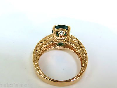 3.58CT. NATURAL ZAMBIA AAA GREEN EMERALD DIAMOND RING - 3
