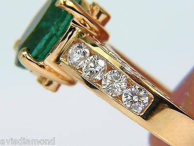3.58CT. NATURAL ZAMBIA AAA GREEN EMERALD DIAMOND RING - 9
