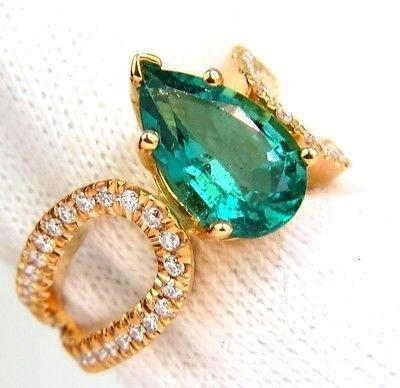 3.10ct Natural Bright Green Emerald Diamond Ring 14kt