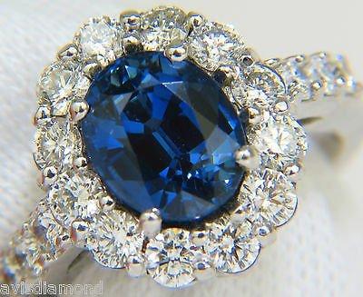 5.53CT NATURAL NO HEAT SAPPHIRE DIAMOND HALO RING 14KT