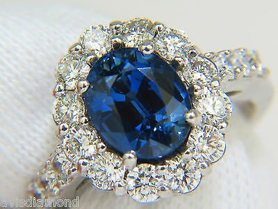 5.53CT NATURAL NO HEAT SAPPHIRE DIAMOND HALO RING 14KT - 2