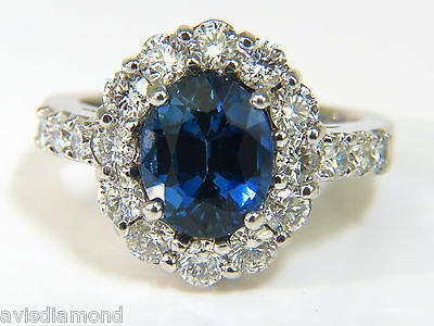 5.53CT NATURAL NO HEAT SAPPHIRE DIAMOND HALO RING 14KT - 3