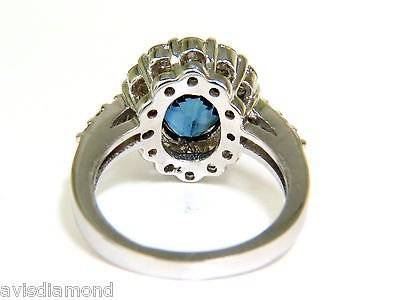 5.53CT NATURAL NO HEAT SAPPHIRE DIAMOND HALO RING 14KT - 4