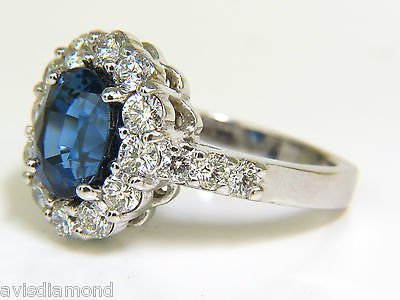 5.53CT NATURAL NO HEAT SAPPHIRE DIAMOND HALO RING 14KT - 5