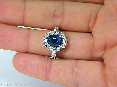 5.53CT NATURAL NO HEAT SAPPHIRE DIAMOND HALO RING 14KT - 7