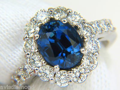 5.53CT NATURAL NO HEAT SAPPHIRE DIAMOND HALO RING 14KT - 9