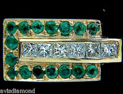 3.00CT NATURAL 3D RETRO DECO STEP EMERALD DIAMOND RING
