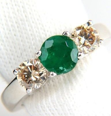 1.90ct NATURAL ROUND EMERALD FANCY COLOR BROWN DIAMONDS