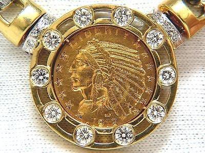 18KT 105 GRAM $5 1912 INDIAN HEAD BLP FINE COIN 6.10CT