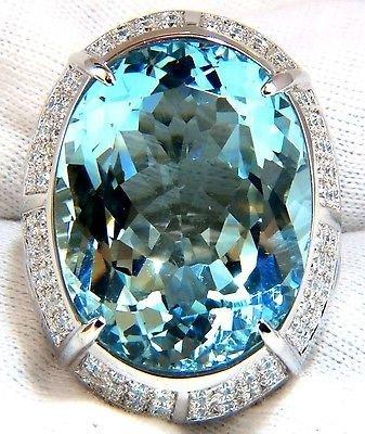 59.42CT HUGE OVAL NATURAL AQUAMARINE DIAMONDS RING 18KT