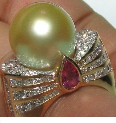 13.25MM AUSTRALIA PEARL 4.50CT DIAMOND RING