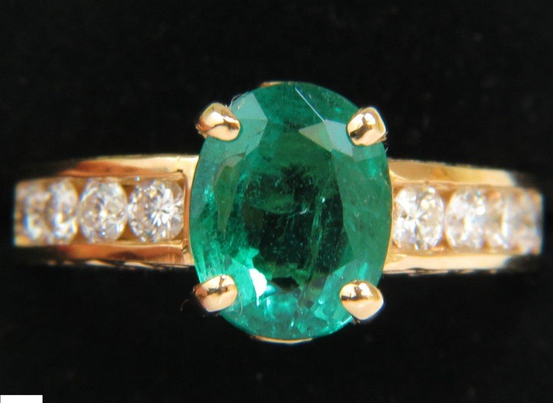3.58CT. NATURAL ZAMBIA AAA GREEN EMERALD DIAMOND RING