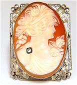 14KT LARGE CAMEO & VICTORIAN FRAME PENDANT BROOCH PIN