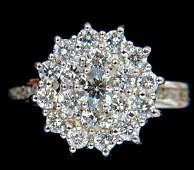 1.10CT WIDE RAISED COCKTAIL DIAMONDS RING G/VS 18KT