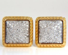 1.30ct Ladies Classic Square Diamond Clip Earrings 18kt