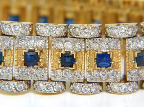 10.00ct Natural Sapphire Diamond Bracelet Edwardian
