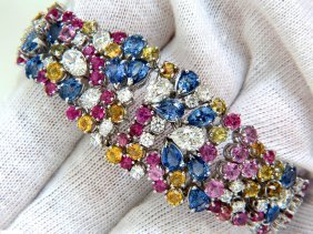 34.92ct Natural Gem Sapphires Diamond Bracelet Cluster