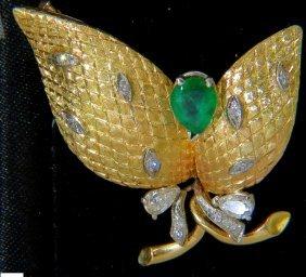 18kt Italy Estate 2.00ct Fine Green Emerald Diamonds