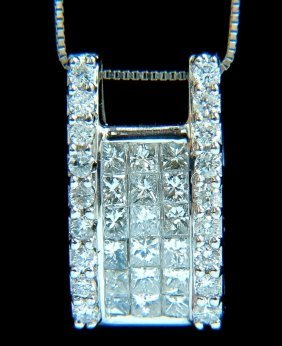 18kt .90ct Princess & Rounds Diamond Square Cluster