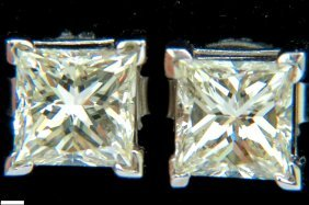 2.00ct Natural Princess Cut Diamond Stud Earrings