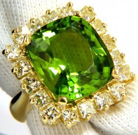 Gia 15.25ct Natural Vivid Green Cushion Peridot Diamond