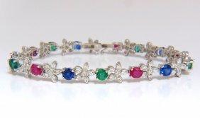8.50ct Natural Emerald Ruby Sapphires Florette Link