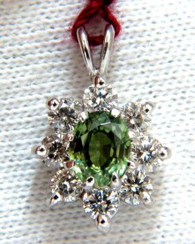 1.93ct Gia Vivid Green Demantoid Diamonds Halo Pendant